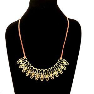 ANTHROPOLOGIE coral/matte gold adjustable necklace